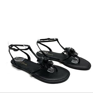 Cole Haan Black Leather Flower Flat Sandals